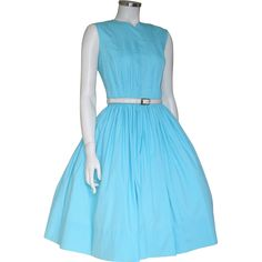 Vintage 1960s Turquoise Blue Sleeveless Spring Day Dress M from vintagemerchant on Ruby Lane