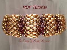 This tutorial will teach you how to make this fun and elegant bracelet using flat Cellini stitch. The tutorial is 8 pages long and has both written instructions and step by step photographs. Level: Advanced beginner. Prior experience with flat even count Peyote stitch is recommended.  Technique: Even count Peyote with 4 different sizes of beads  Designer's Note: Feel free to sell what you make with this pattern, but please do not copy, share or teach this pattern without my written…