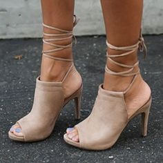 Sheospie Apricot Lace Up Sandals
