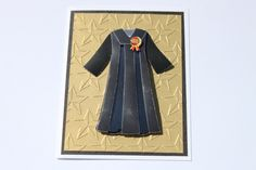 Graduation Card Gold Stars Gown by RoyalRegards on Etsy
