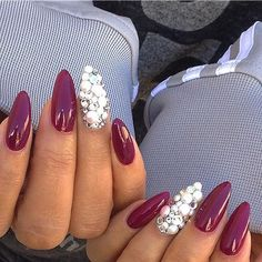 Burgundy + Pearls Stiletto Nails