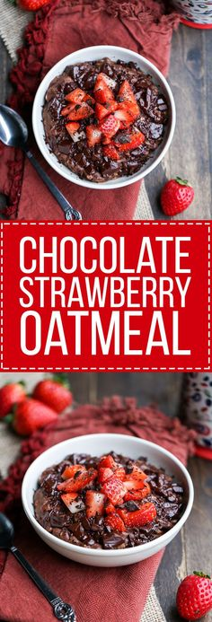 Used half a banana. This Chocolate Strawberry Oatmeal tastes like dessert for breakfast! This oatmeal is sweetened with a banana and has cocoa powder and chocolate chips to make it super chocolatey. It's gluten-free, refined sugar free, and vegan. Vegan Oatmeal, Gluten Free Oatmeal, Chocolate Oatmeal, Chocolate Chips, Healthy Chocolate, Chocolate Porridge, Chocolate Parfait, Baking Chocolate, Chocolate Art