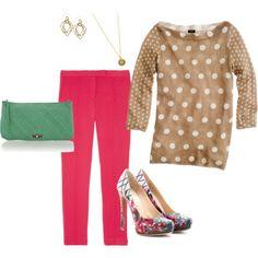 Pink pants and polka dots