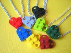 lego heart necklace - make these for a kid party as favors - different shapes. Awesome
