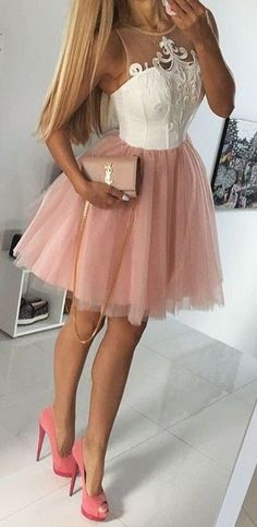 White Embroidery + Pink tulle Dress                                                                             Source