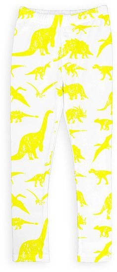 White & Yellow Dinosaur Leggings - Toddler & Girls