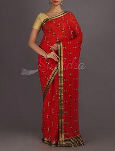 Aarti Dainty Kite Motifs Pure #MysoreChiffonSaree