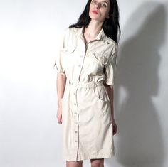 Vintage 80's Beige Wrap Cargo Belted Midi Holiday Casual Dress by Ramaci