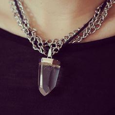 Ephtenia Almella Necklace detail shoot with chunky quartz stone and leather cord - SS14 Collection  www.ephtenia.com  instagram @Ephtenia Design