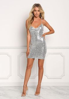 Junior Clothing | Silver Sequin Multi Strap Back Bodycon Dress | Loveculture.com Dresses For Teens, Modest Dresses, Satin Dresses, Pretty Dresses, Sexy Dresses, Casual Dresses, Short Dresses, Glitter Dress, Metallic Dress