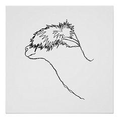 Alpaca Sketch. Posters Zazzle