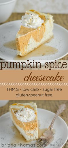 This healthy Pumpkin Spice Cheesecake is THM:S, low carb, sugar free, and gluten/peanut free. Sugar Free Desserts, Sugar Free Recipes, Mini Desserts, Gluten Free Desserts, Low Carb Sweets, Low Carb Desserts, Healthy Desserts, Healthy Recipes, Diabetic Recipes