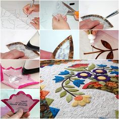 How to DIY Applique Flowers on Quilting Wool Applique, Applique Patterns, Quilt Patterns, Paper Piecing, Sewing Appliques, Quilting Tutorials, Quilting Ideas, Flower Making, Cross Stitch Embroidery