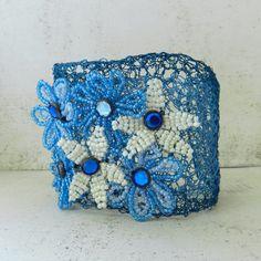 Wire Crochet Cuff Bracelet Beaded Flower Bracelet Cuff Blue Boho Hippie Jewelry. $35.00, via Etsy.