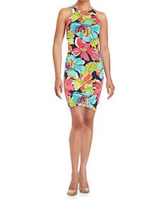 "Trina Turk Floral Sheath Dress-Quality fit & material! mod floral splashes against a ruched figure hugging silhouette, round high neck & back, racer back style, concealed back zipper closure, ruched sides, fully lined, 36"" from shoulder to hem, size xs is size 0 bust 32"", waist 24.5"", hips 35.5"", (size small is size 2/4) polyester/spandex, machine wash, color multi, retail $138, Lord & Taylor (xs)"