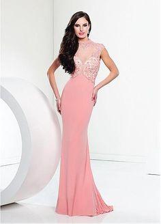 Marvelous Chiffon Illusion High Neckline Sheath Evening Dresses With Rhinestones & Beadings