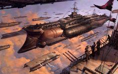 Steampunk battleships wallpaper
