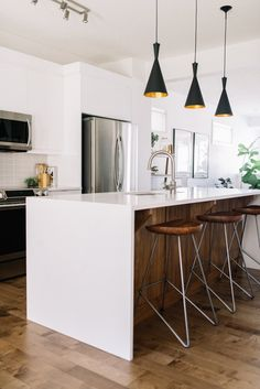 Stunning white and walnut kitchen