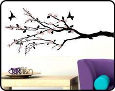Cherry Blossom Branch Wall Decal Vinyl Sticker Art w/ Hummingbirds - Elegant design