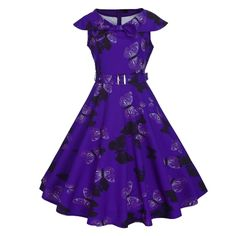 21.85$  Buy here - http://aiw8i.worlditems.win/all/product.php?id=G8368PU-XXL - Fashion Women Retro Dress Vintage Butterfly Print Rockabilly Party Swing Dress Purple/Light Purple/Green