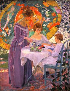 Karl Buehr   Under the Parasol (c. 1910) One of my favorite paintings. This umbrella will show up in other paintings.