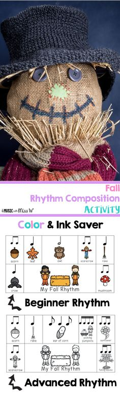 This is such a fun fall themed activity to review and assess rhythms! I love that it comes with beginner and advanced rhythms in color and black and white ink saver. It also has option for stick notation and regular notation. Comes with slides to review rhythms as well. Each rhythm strip holds four beats. Just had to laminate and cut out a class set.