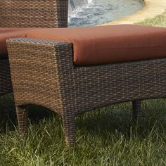 Panama Jack Key Biscayne Ottoman with Cushion Fabric: Canvas Tuscan