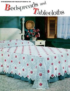 8 bedspreads and tablecloth crochet patterns (pictured here-rose and pineapple bedspread)
