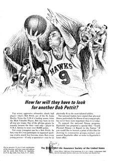 Items similar to 1965 Bob Pettit NBA Basketball Drawn By Artist George Loh Original Magazine Ad on Etsy Bob Pettit, Olympic Football, Pin Up Posters, Basketball Art, Atlanta Hawks, Chevrolet Bel Air, Sports Figures, Nba Champions, Sports Art