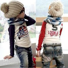 Skull jeans & scarf for little boys