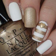 White & Gold Striped Nail Design