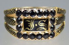 Exquisite Antique Georgian Tailor 22K Gold Enamel Jet Mourning Ring JS 1812  | eBay