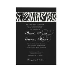 Elegant Black and White Zebra Wedding Invitation.  Wild! More zebra wedding ideas:  http://www.squidoo.com/leopard-zebra-wedding