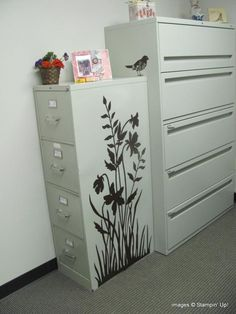 Stampin up - silhouette on a file cabinet.