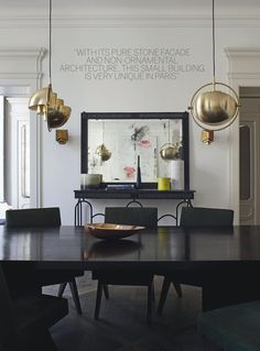 Black white and gold dining room. Love it