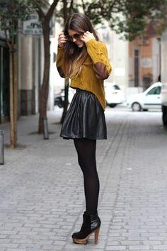 Кожаная юбка и 48 разных фото-образов