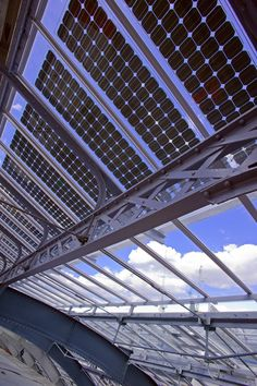 The solar glazing system at King's Cross railway station, where Kier… Civil Engineering Projects, Solar Panel Technology, Steel Roofing, Solar Roof, Passive Solar, Glass Roof, Modern Buildings, Atrium, Green Building