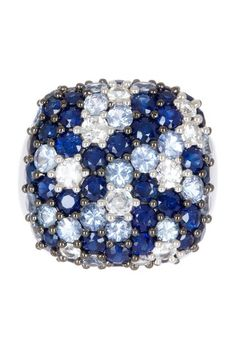 Sterling Silver Pave White & Multi-Blue Sapphire Cushion-Shaped Ring