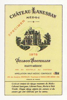 Medoc Chateau Lanessan 1978 French Wine Label