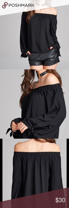 🆕 black off the shoulder top Loose fit black off the shoulder top PLEASE Use the Poshmark new option you can purchase and it will give you the option to pick the size you want ( all sizes are available) BUNDLE and save 10% ( no trades price is firm unless bundled) Tops