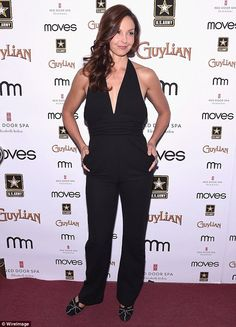 Lovely and amazing: Ashley Judd sizzled in a sleek black jumpsuit with plunging neckline a...