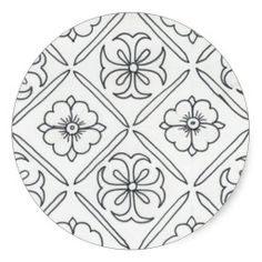 sold 1 sheet each of small (20 per sheet) and large (6 per sheet) Floral Tile Mosaic Round Stickers