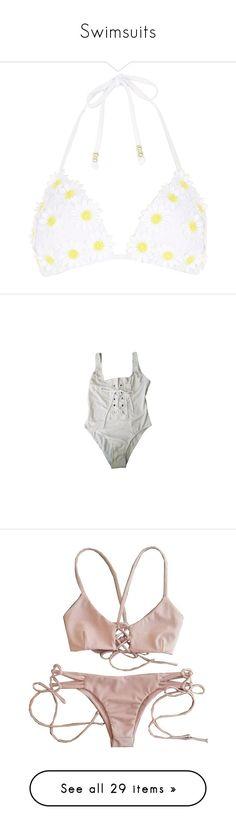 """Swimsuits"" by k-ura ❤ liked on Polyvore featuring swimwear, bikinis, bikini tops, swimsuits, bathing suits, beach, swimwear / beachwear, white, women and white halter top"