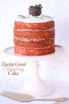 Chocolate Covered Strawberry Cake - confessionsofacookbookqueen.com