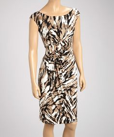 Loving this Tan & Black Abstract Gathered Sleeveless Dress on #zulily, $35 !!  #zulilyfinds