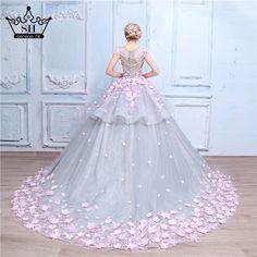 Flower Ball Gown Wedding Dress Bridal Dress robe de mariage mariee princesa wedding dresses 2016 wedding gown