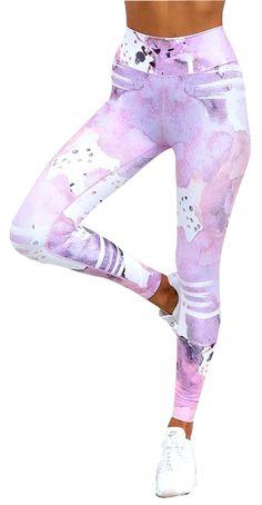 Serenity Watercolor Yoga Pants - Lavender Pink or Aqua Green