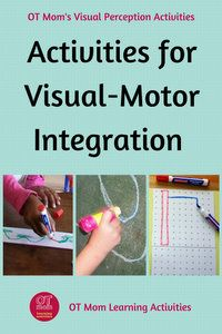 These visual motor integration activities will help your child to learn skills needed for handwriting. Source by clheinlein and me activities Visual Motor Activities, Visual Perceptual Activities, Fine Motor Activities For Kids, Visual Learning, Physical Activities, Occupational Therapy Activities, Art Therapy Activities, Learning Activities, Kids Learning