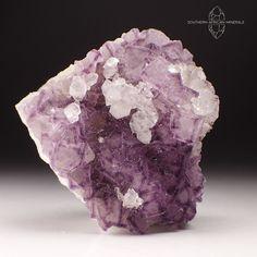 Purple Green Fluorite with Quartz Crystal Specimen, Riemvasmaak South Africa