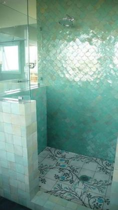 Fish scale tile, also known as mermaid tile. Beautiful modern bathrooms and kitchens using the timeless fish scale tiled design Bad Inspiration, Bathroom Inspiration, Morning Inspiration, Interior Inspiration, Style At Home, Mermaid Tile, Mermaid Scales, Fish Scales, Mermaid Skin